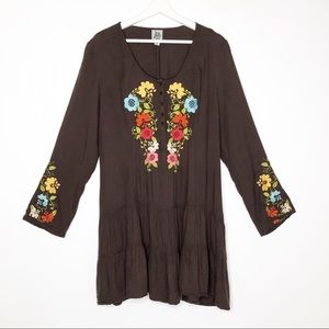 Ivy Jane Brown Floral Embroidered Boho Hippie